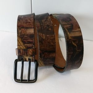 Genuine Leather Dual Tooth Buckle Camo Belt 38